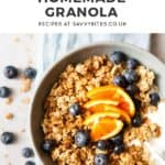 chunky granola with text overlay