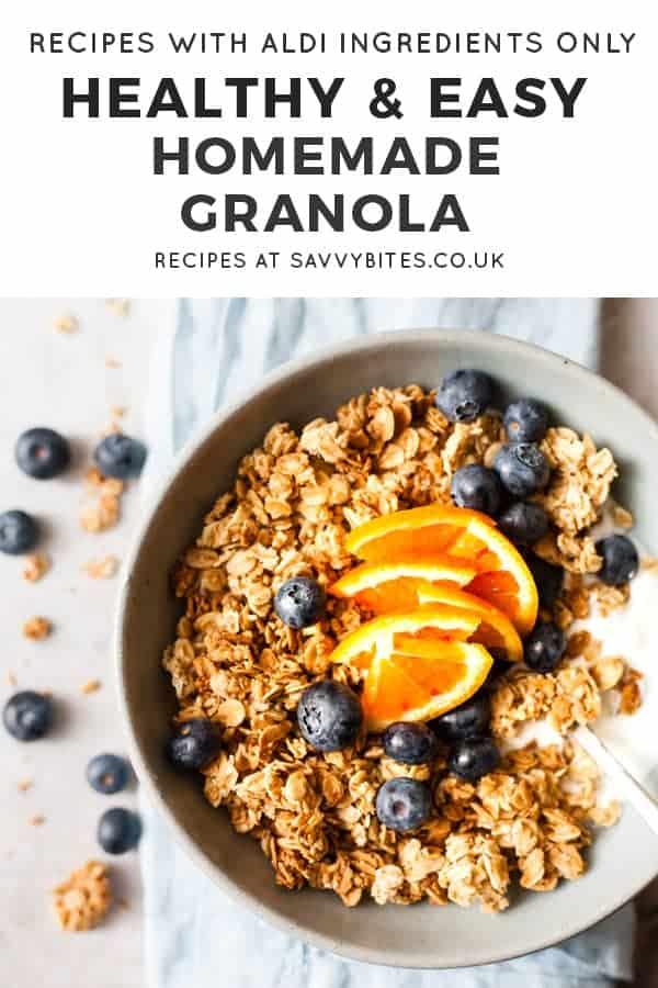 chunky granola with text overlay