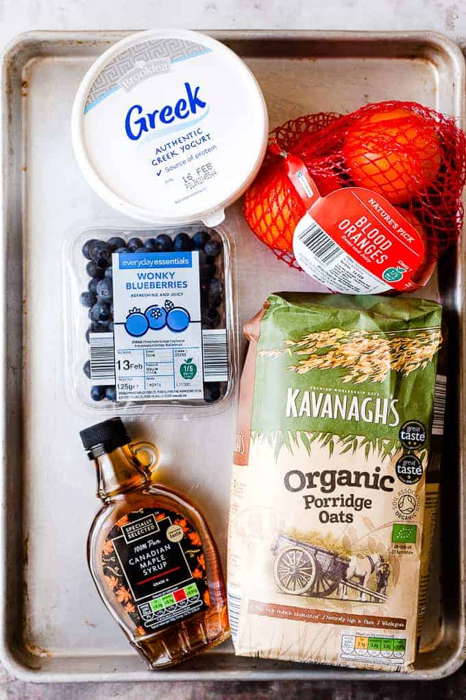 Aldi ingredients laid out for making homemade granola.