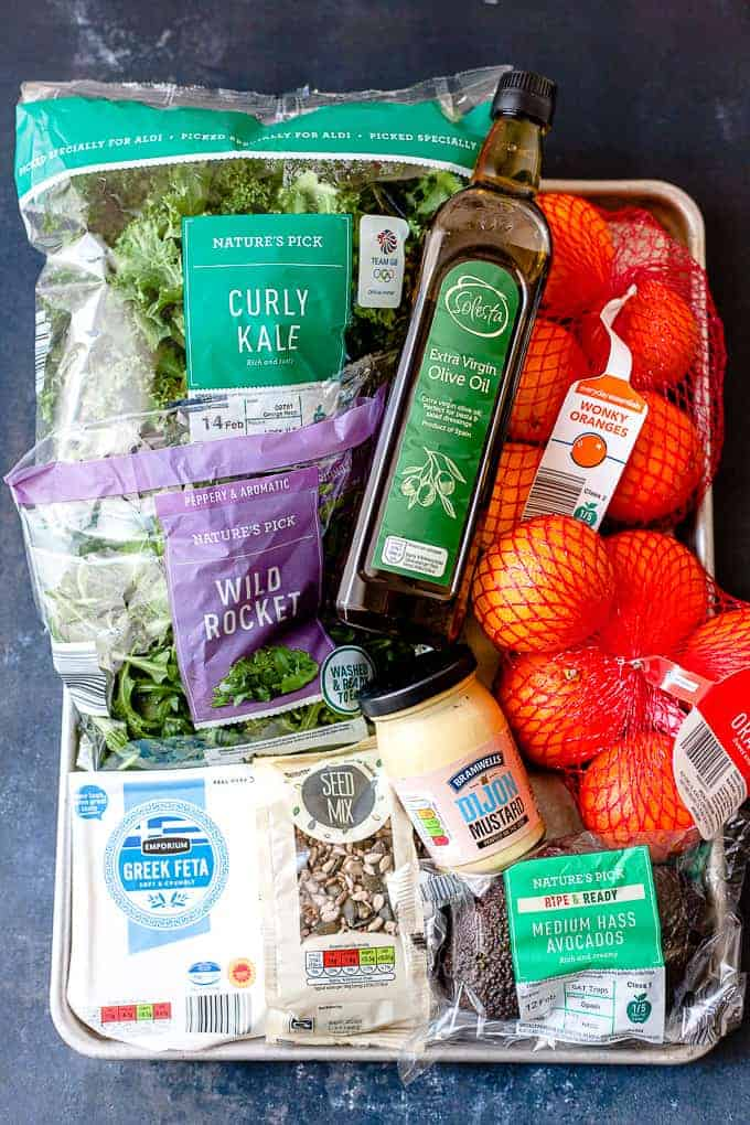 Aldi ingredients laid out for kale salad.