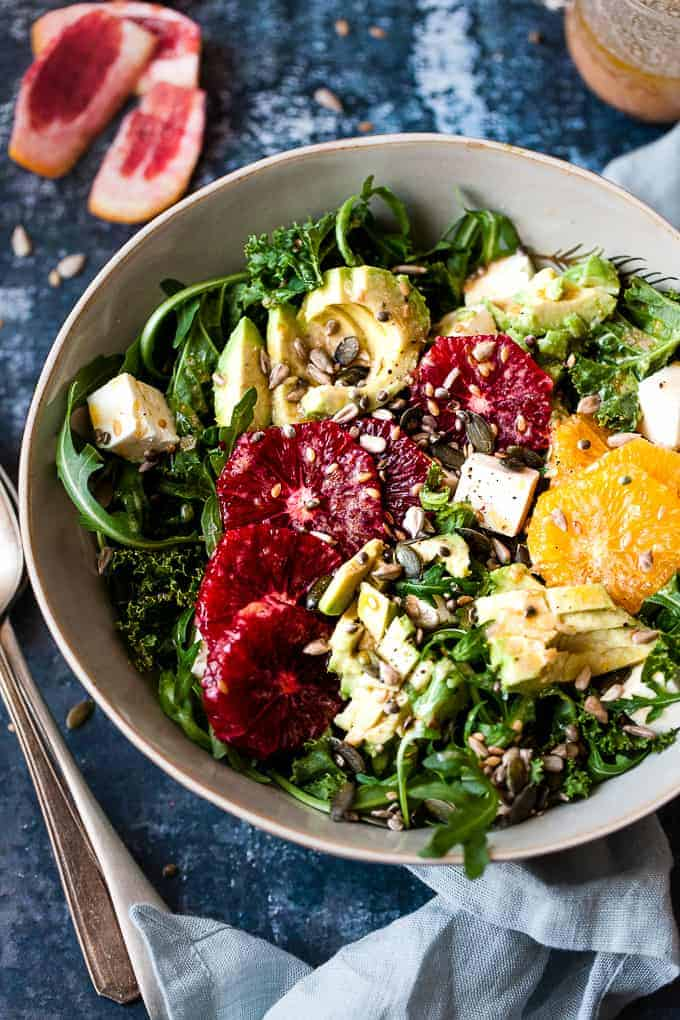 kale salad with blood oranges all Aldi ingredients