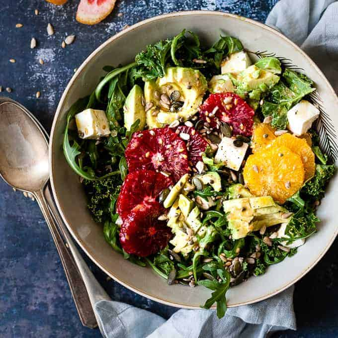 Citrus kale salad with oranges and cheese.
