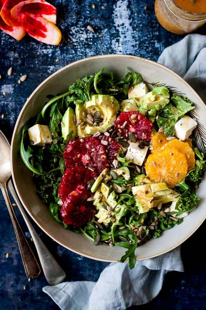 Easy kale salad with avocado and oranges