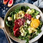 Easy citrus kale salad with rocket.