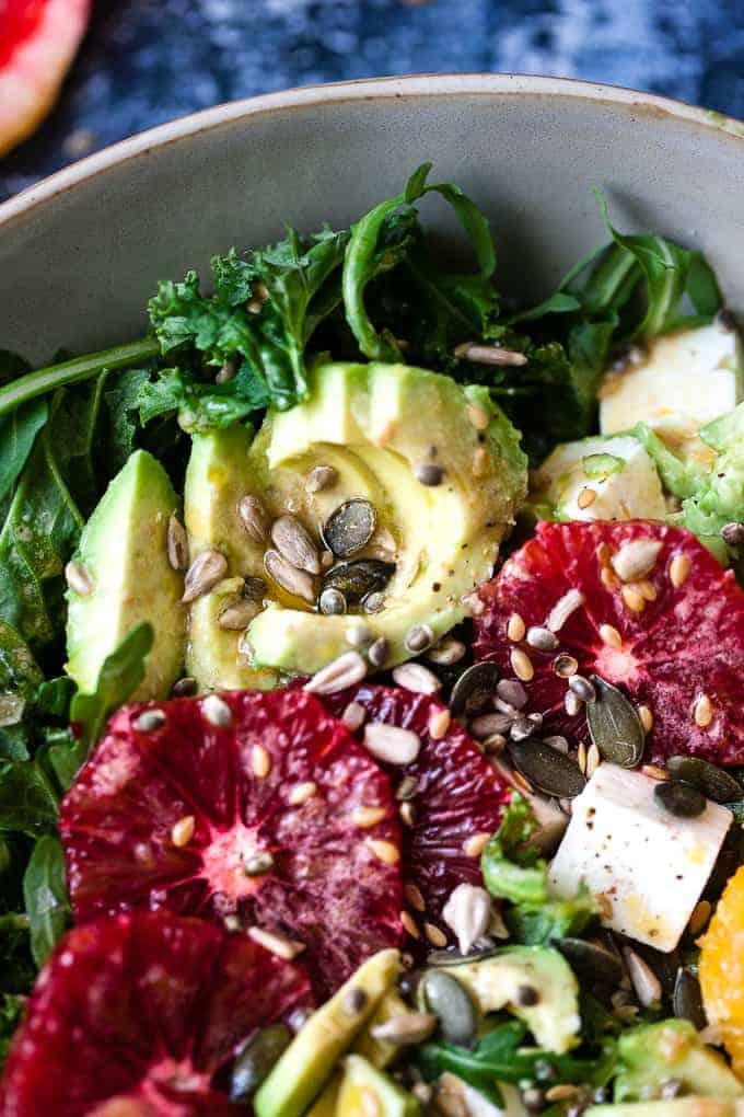 citrus kale salad made using Aldi ingredients.