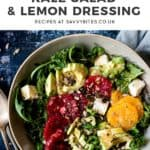 Simple massaged kale salad with text overlay