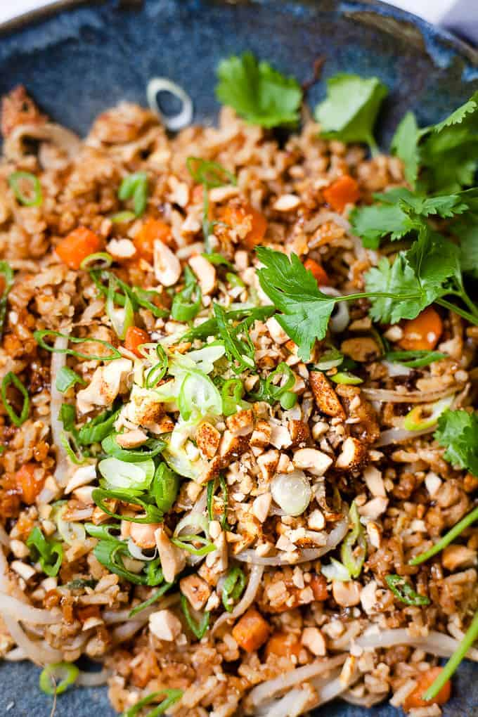 Finished bowl of fried rice with peanuts and coriander.
