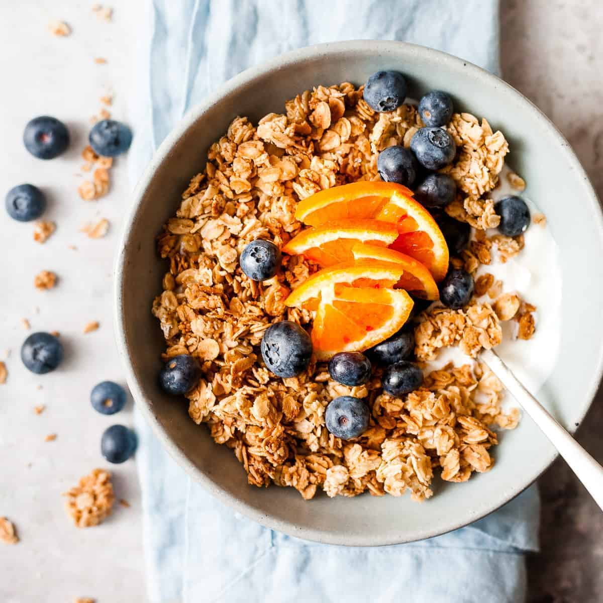 Homemade granola with greek yoghurt and fruit made with Aldi ingredients.