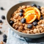 bowl of granola with fresh fruit using aldi Uk ingredients