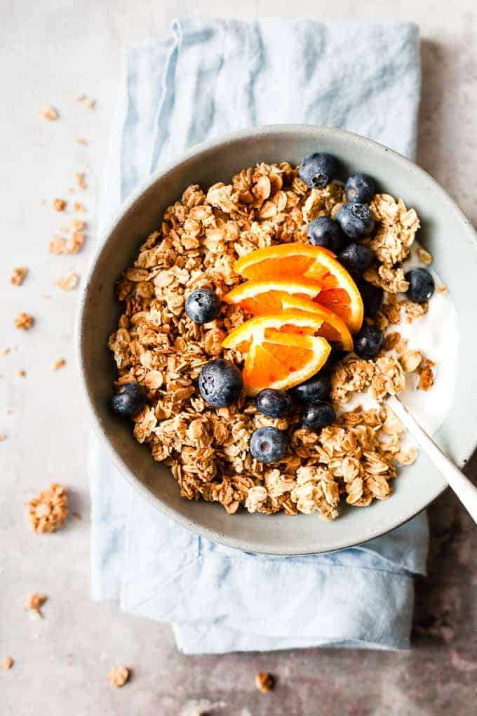 Homemade maple granola with blueberries