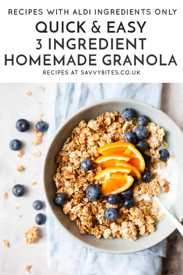 cluster filled granola with Aldi ingredients and text overlay