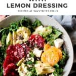 kale salad with oranges and text overlay