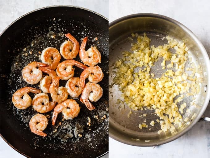 step by step 1 & 2 for making prawn pasta
