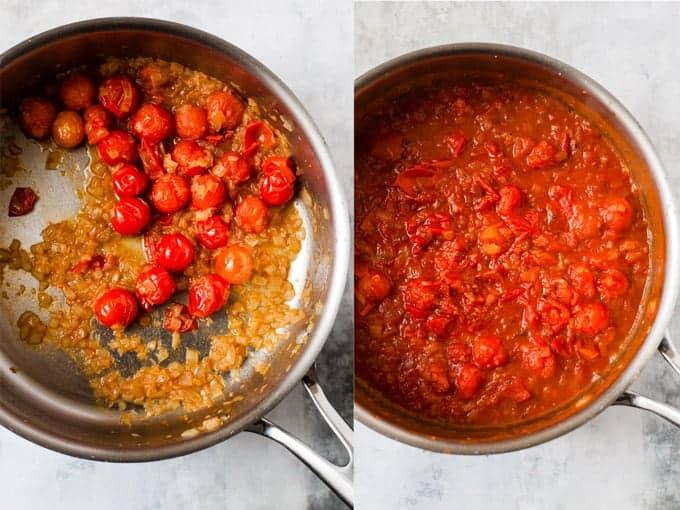 tomato prawn pasta step 3 & 4