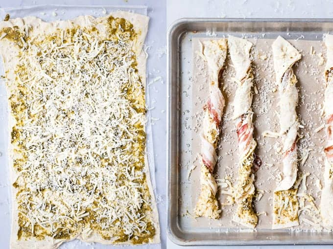 Step 2 & 3 of making puff pastry cheese straws using Aldi ingredients.