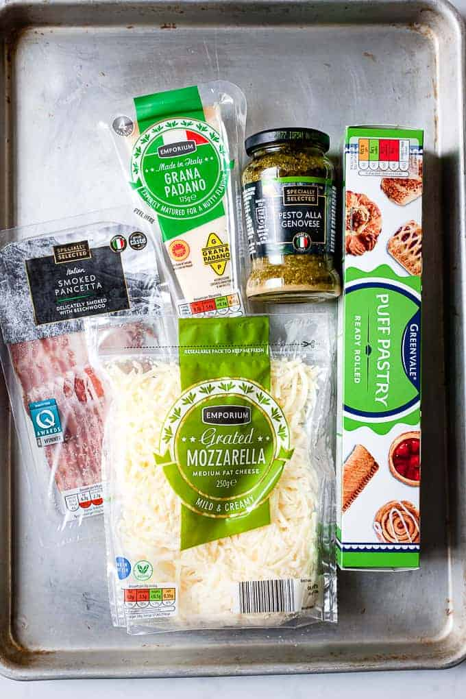 Ingredients for making puff pastry cheese straws. All ingredients from Aldi UK.