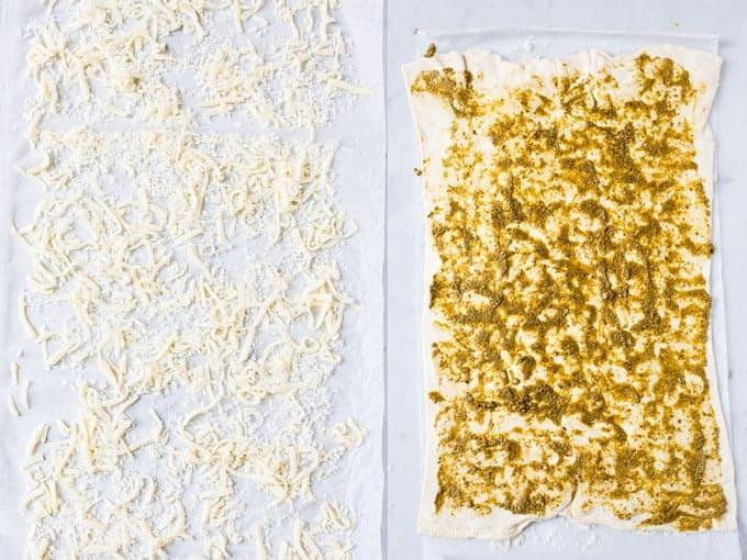 Step 1 & 2 of making cheese straws using Aldi Ingredients.