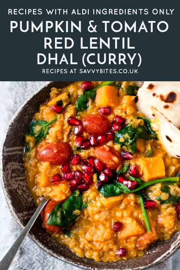 One pot Red lentil dhal with spinach and tomatoes with text overlay.