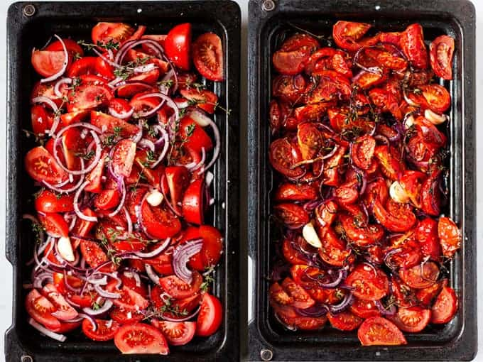 Oven roasted tomatoes to make healthy and vegan roasted tomato soup.