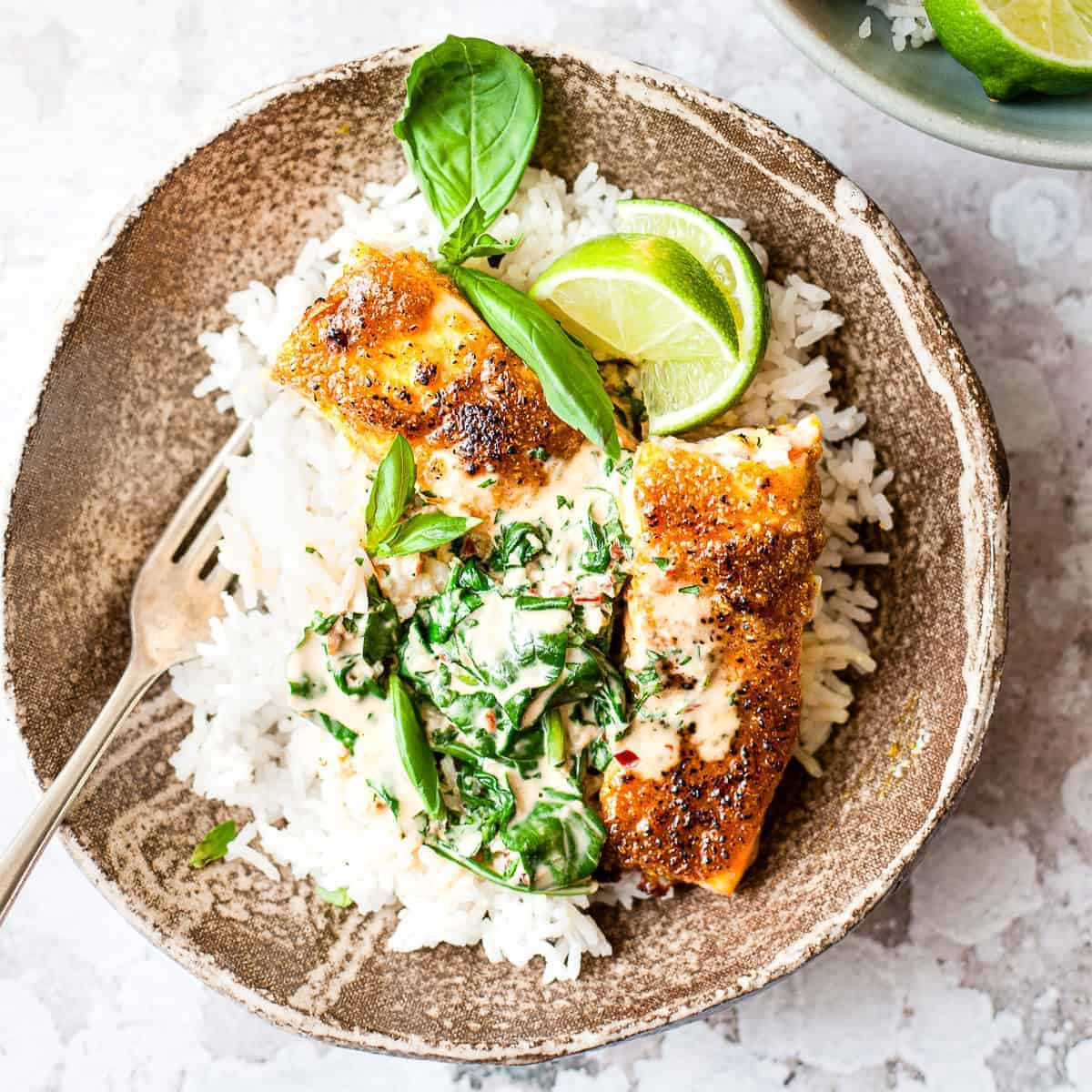 Creamy coconut curry salmon 30 minute meal with Aldi ingredients.