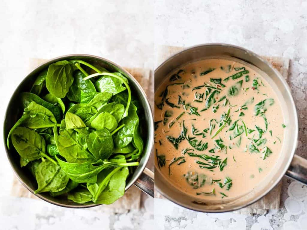 Thai coconut curry sauce in a pan with spinach. All ingredients from Aldi.