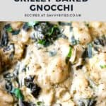 Pesto gnocchi bake with text overlay.