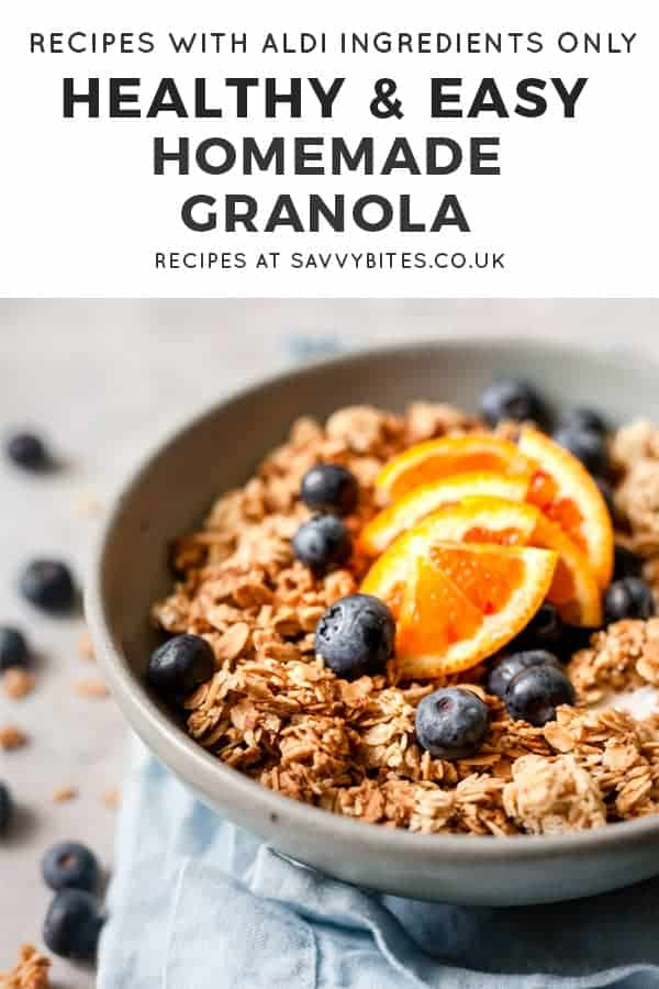 homemade granola with text overlay.