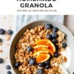 chunky homemade granola with greek yoghurt with text overlay