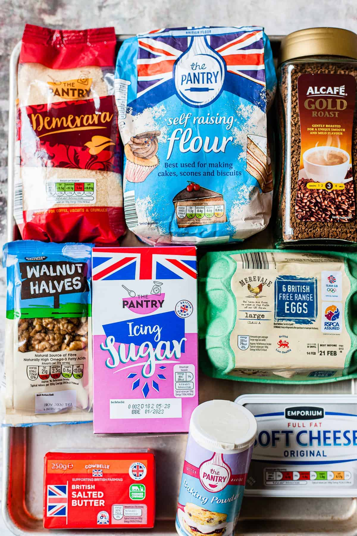 Ingredients for easy coffee walnut cake from Aldi.