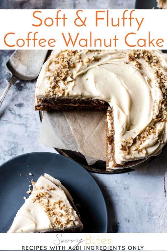 Rich and easy coffee walnut cake made using Aldi ingredients.