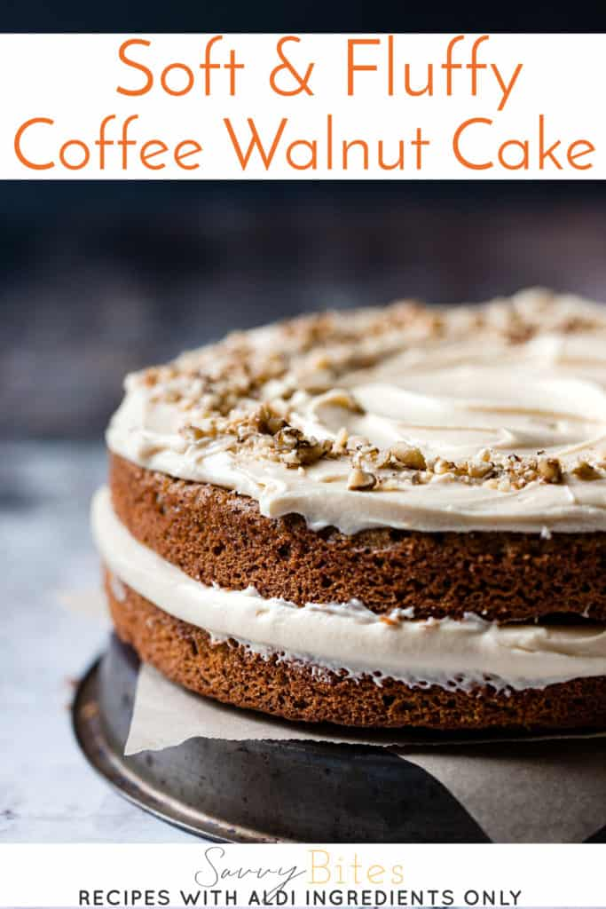 Rich and fluffy coffee walnut cake with cream cheese frosting. All ingredients from Aldi.