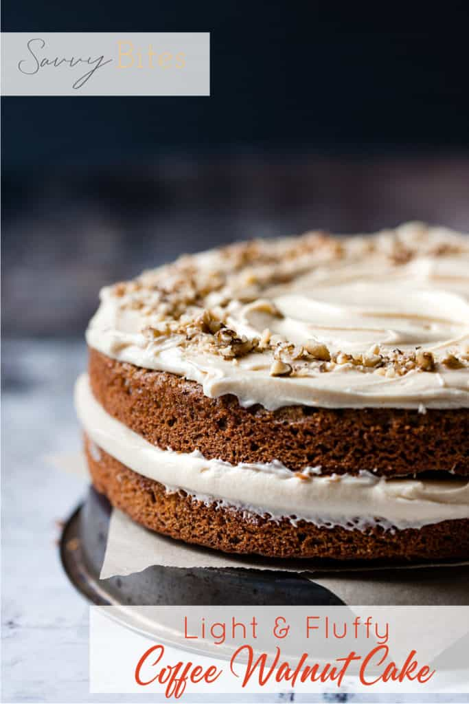 Whole coffee and walnut cake with buttercream frosting.