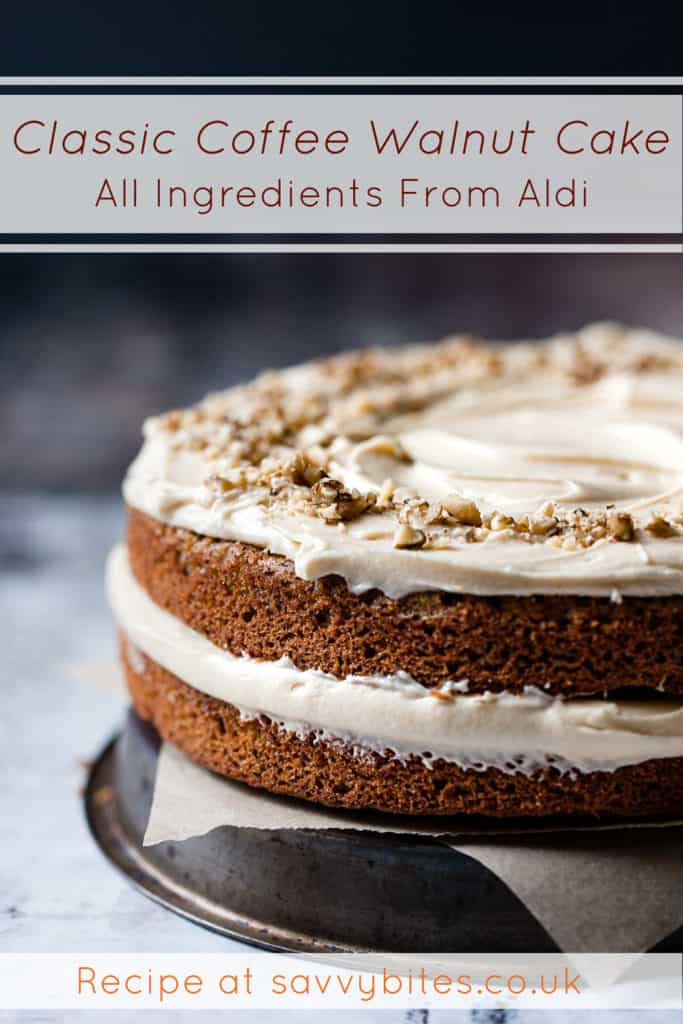 Classic coffee walnut cake with buttercream frosting. All Aldi ingredients.
