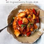 Sweet and sour chicken made with pantry ingredients.