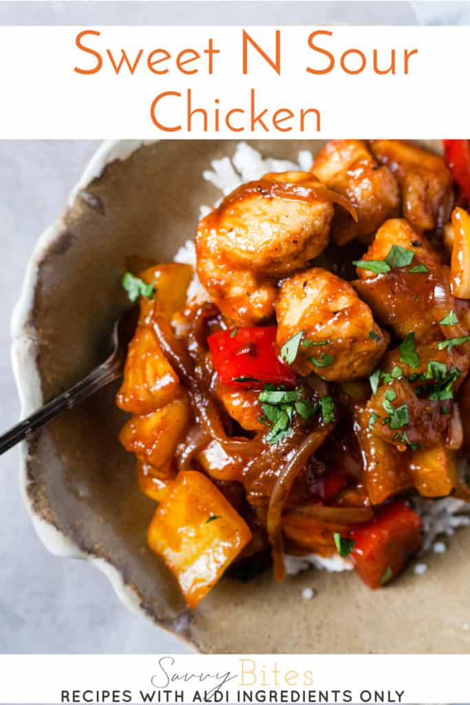 Quick and easy sweet and sour chicken with text overlay.