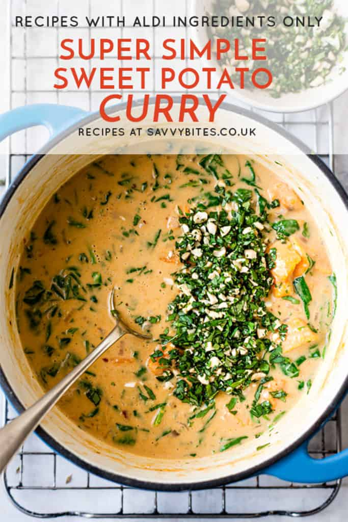 quick and easy sweet potato curry with text overlay.