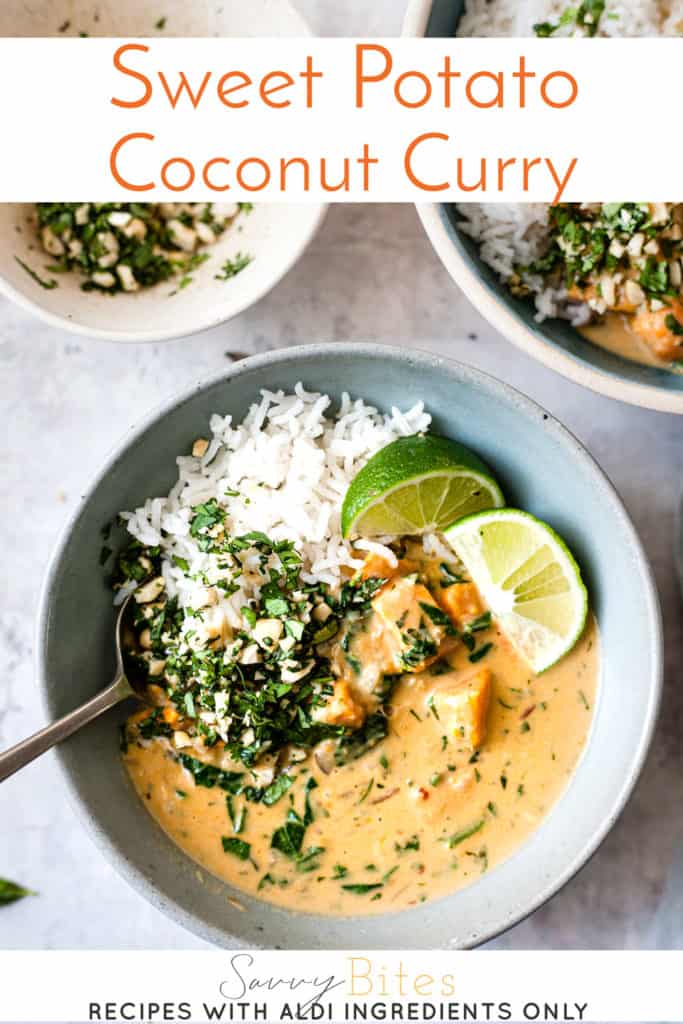 vegan coconut sweet potato curry with text overlay.
