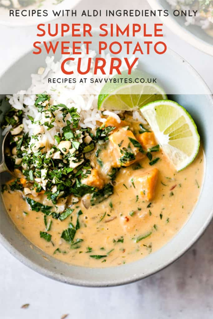Easy sweet potato curry with text overlay.