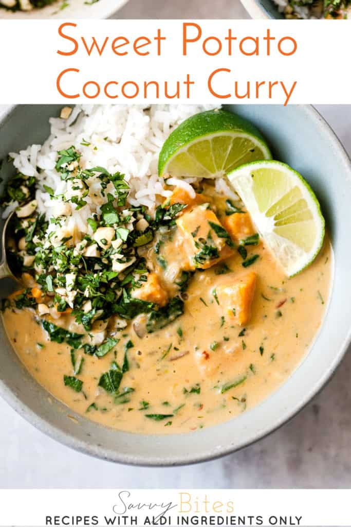 easy sweet potato curry in a blue bowl with text overlay.