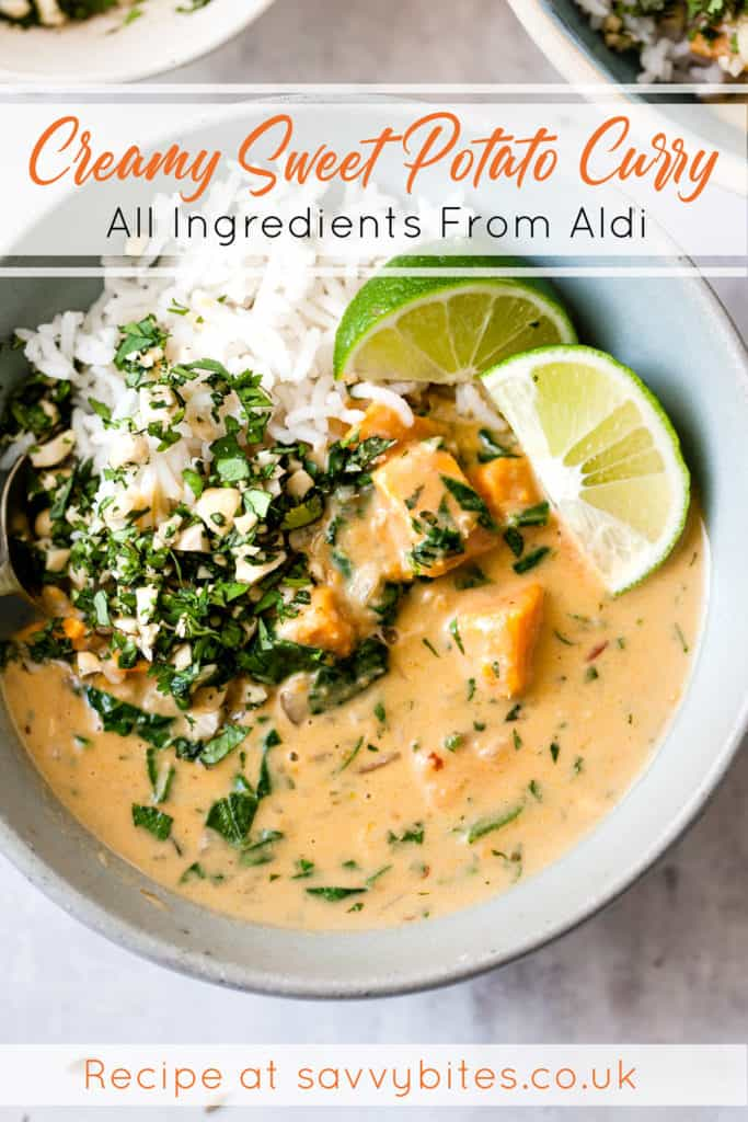 sweet potato curry in a blue bowl with text overlay