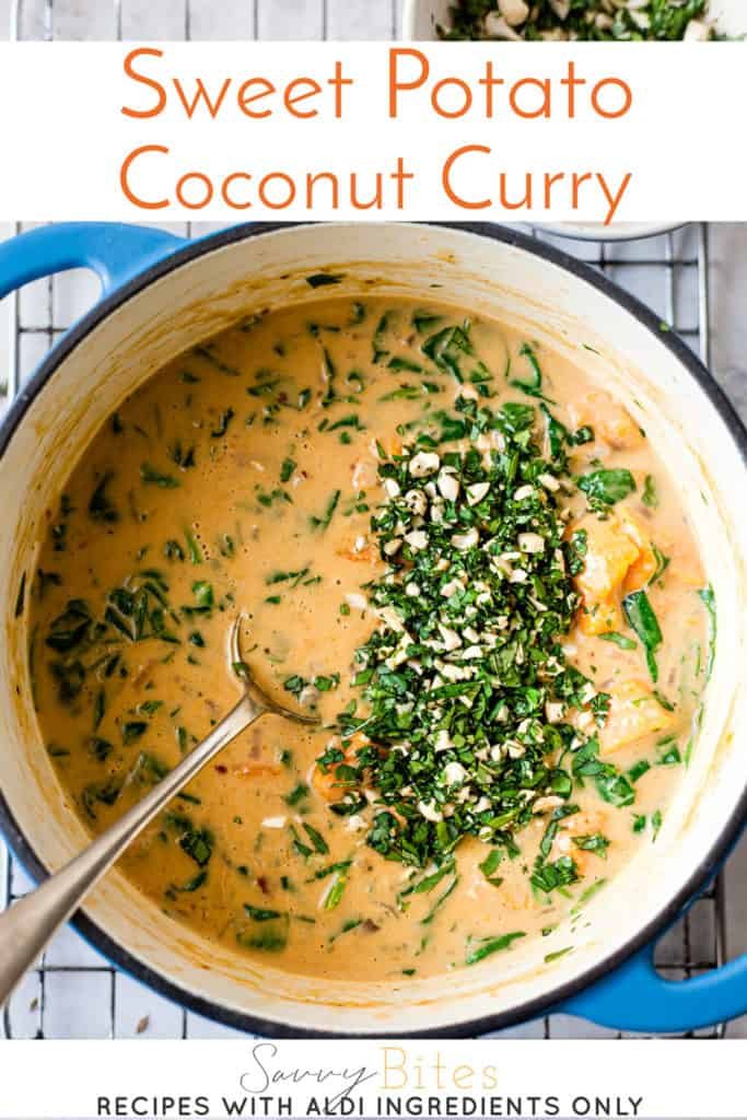sweet potato curry with text overlay.
