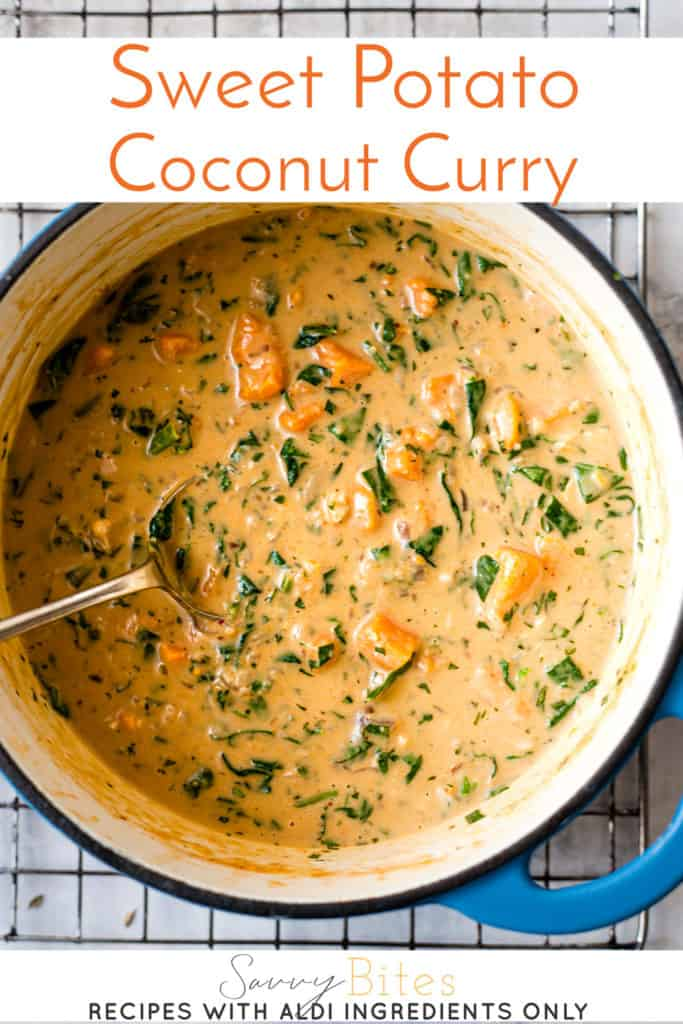 sweet potato coconut curry with text overlay.
