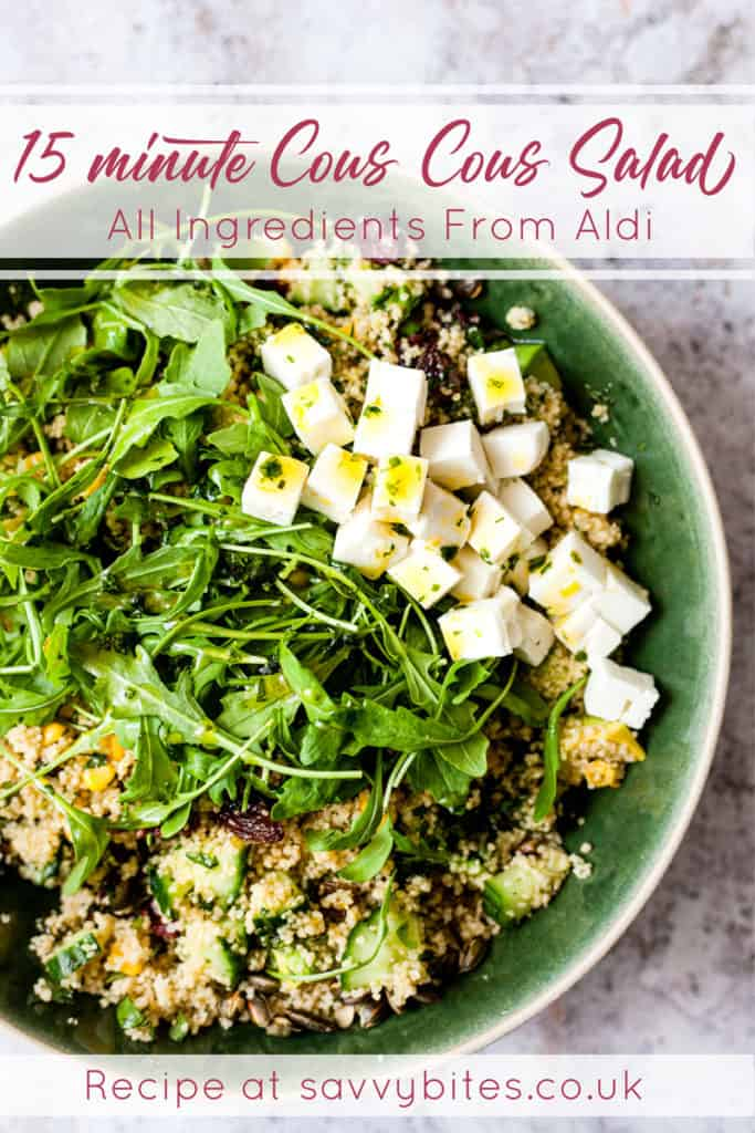 Couscous salad using ingredients from Aldi UK