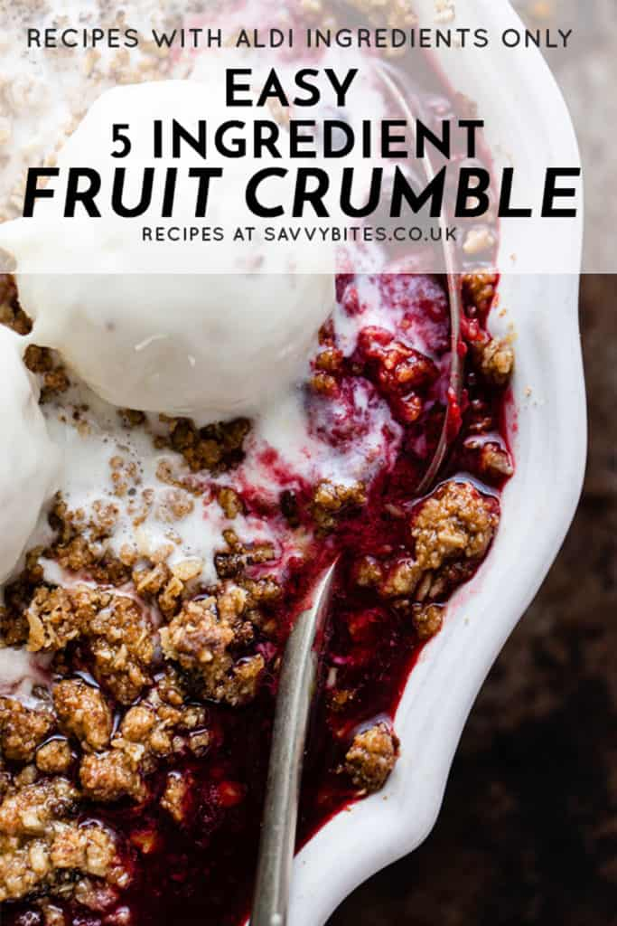 quick and easy fruit crumble with text overlay