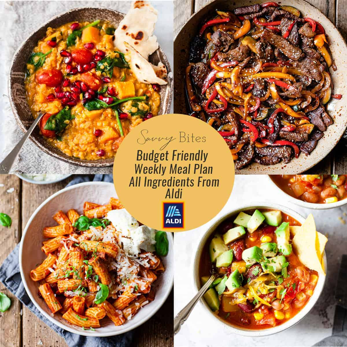 Aldi budget friendly meal plan for healthy family meals.