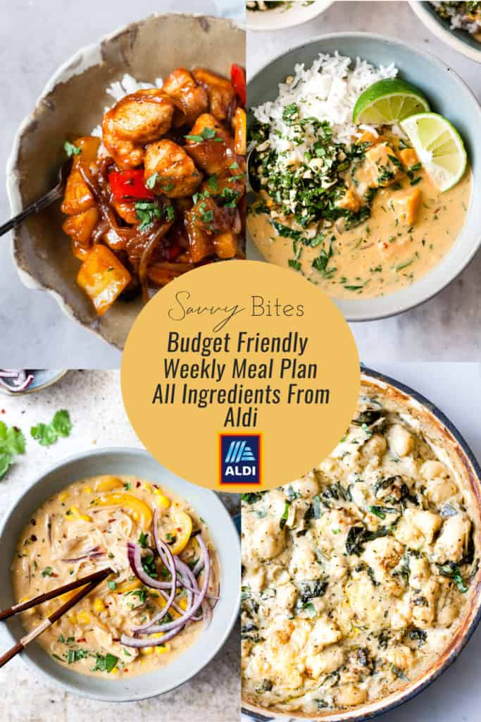 Collage of recipes for Aldi Meal Plan