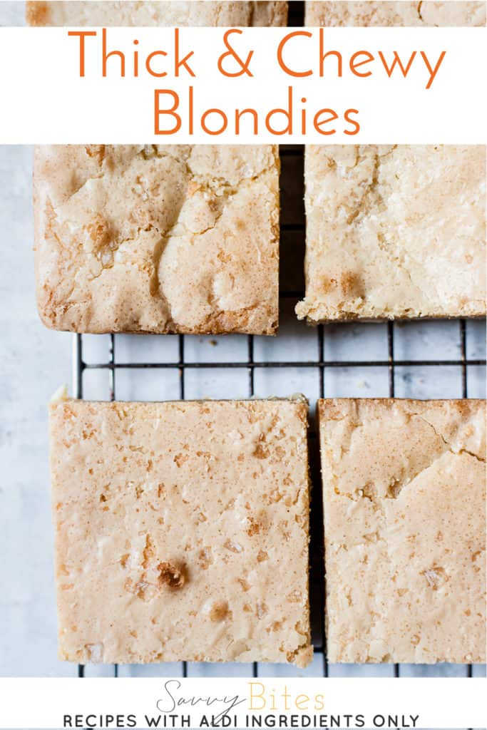 Quick and easy one bowl blondies with text overlay.