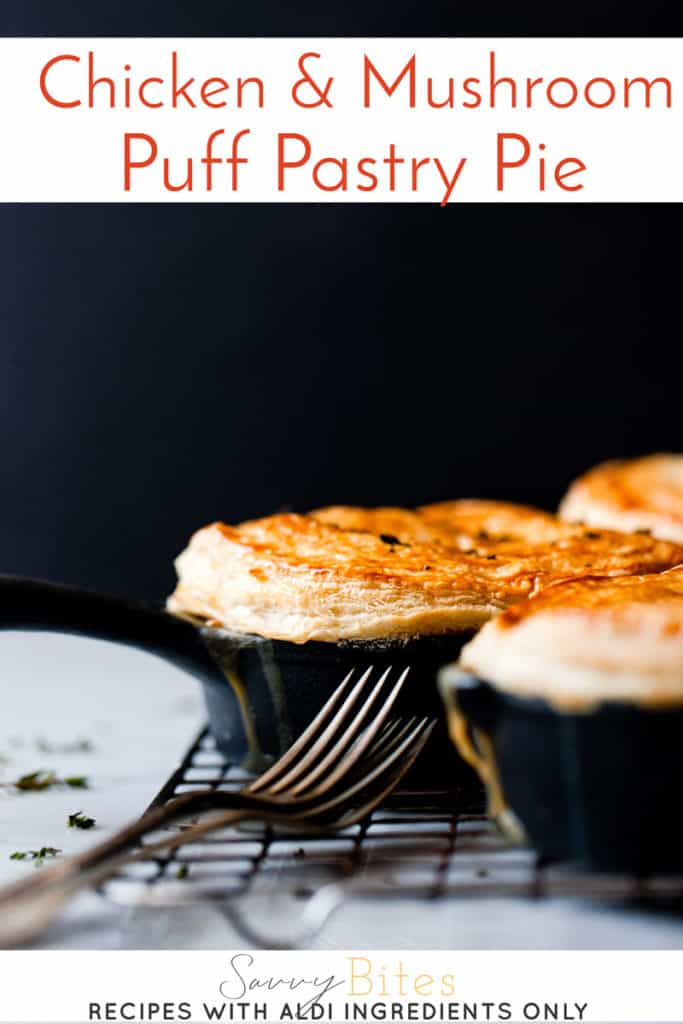 Easy puff pastry chicken and mushroom pie using Aldi ingredients.