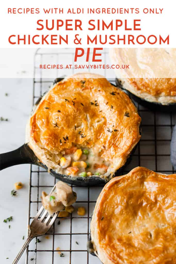 easy chicken and mushroom pie with peas and corn