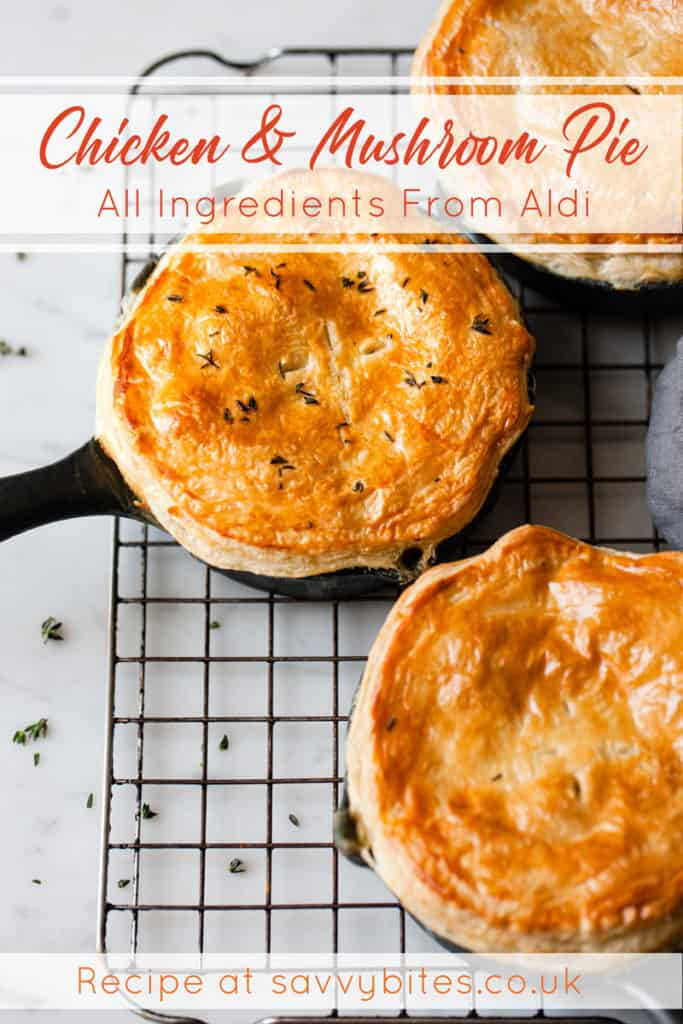 Quick and easy chicken and mushroom pie with puff pastry lids.
